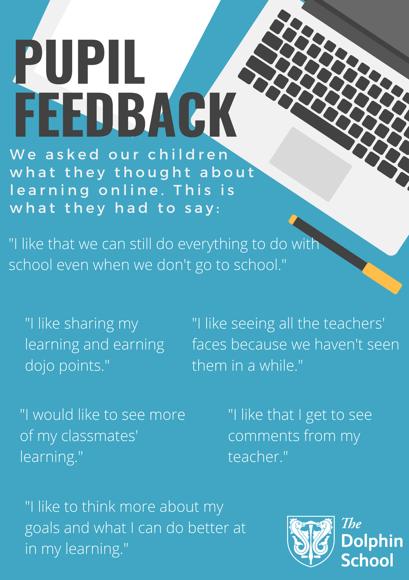 Online learning   pupil feedback